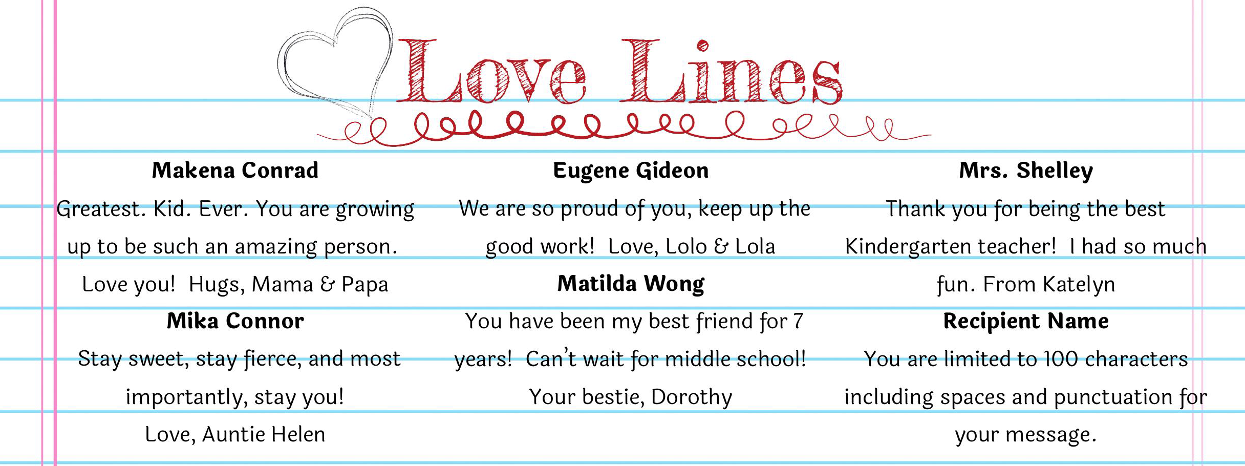 Love Lines Example