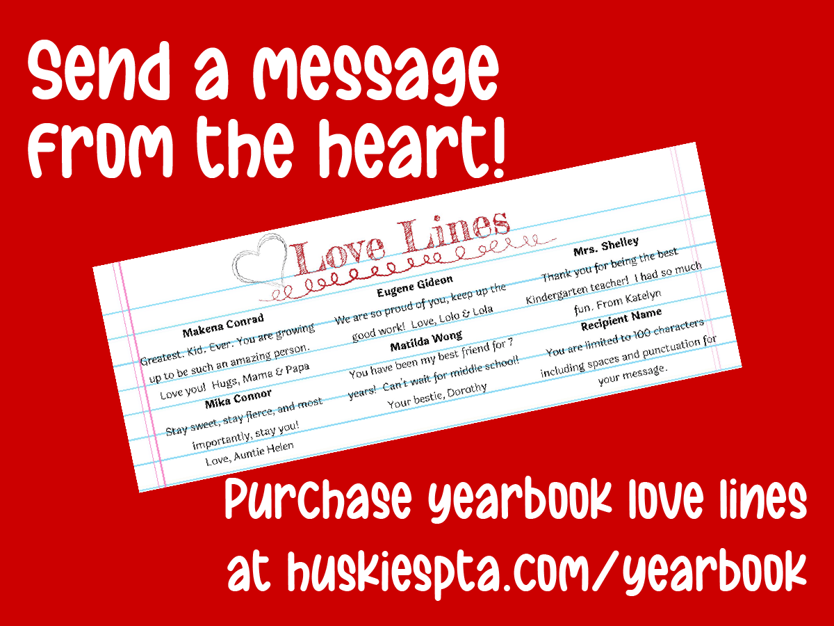 Yearbook Love Line web graphic send a message